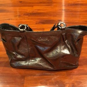 Silver Coach Leather Purse